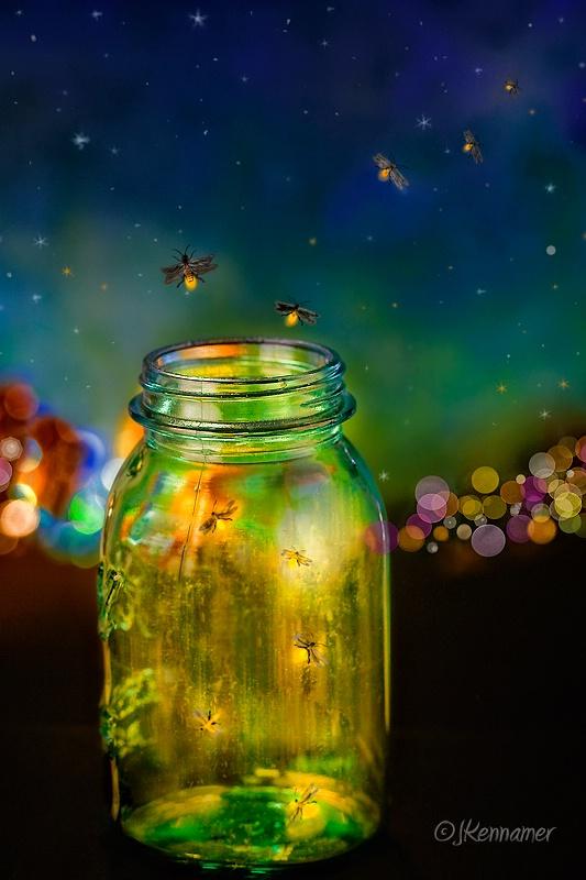 Fireflies escaping from a jar
