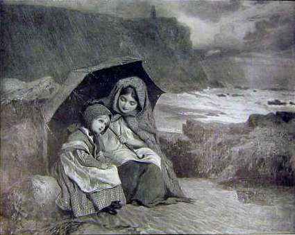 Lady and child with umbrella by the sea