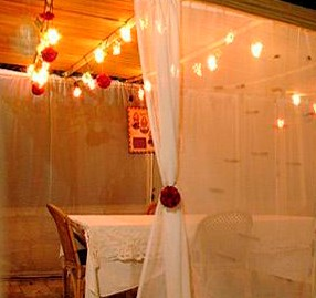 Sukkot booth with curtains