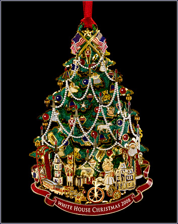 White House Christmas Ornament 2008