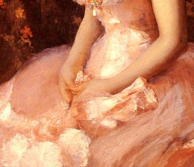 Chase-William-Merritt-Portrait-Of-A-Lady-In-Pink hands