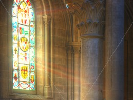 Rays-of-light-through-stained-glass-in-a-church-