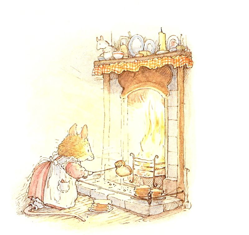 Brambly Hedge Winter Cloaver toasting bread