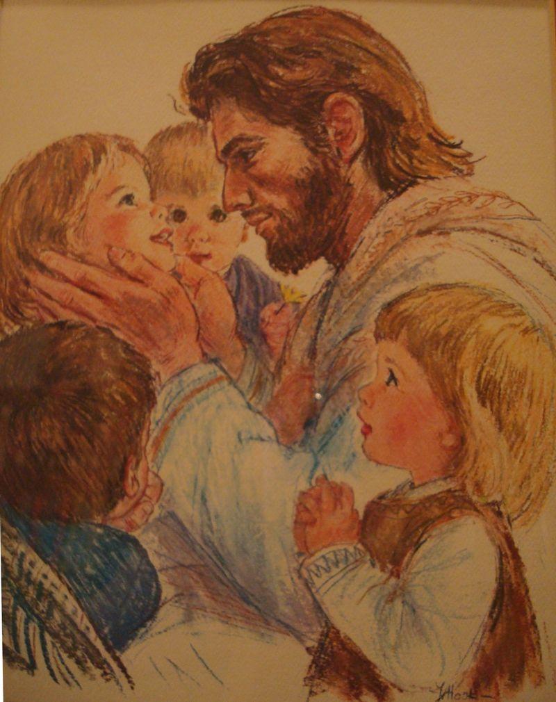 Jesus holding little girl's face