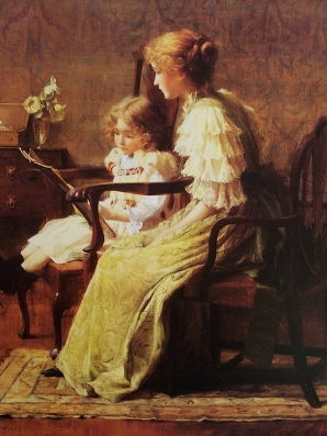 Mother and daughter reading small