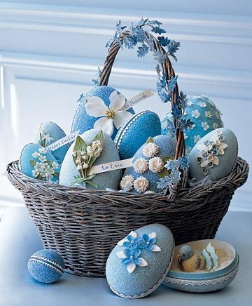 Glitttered floral egg basket