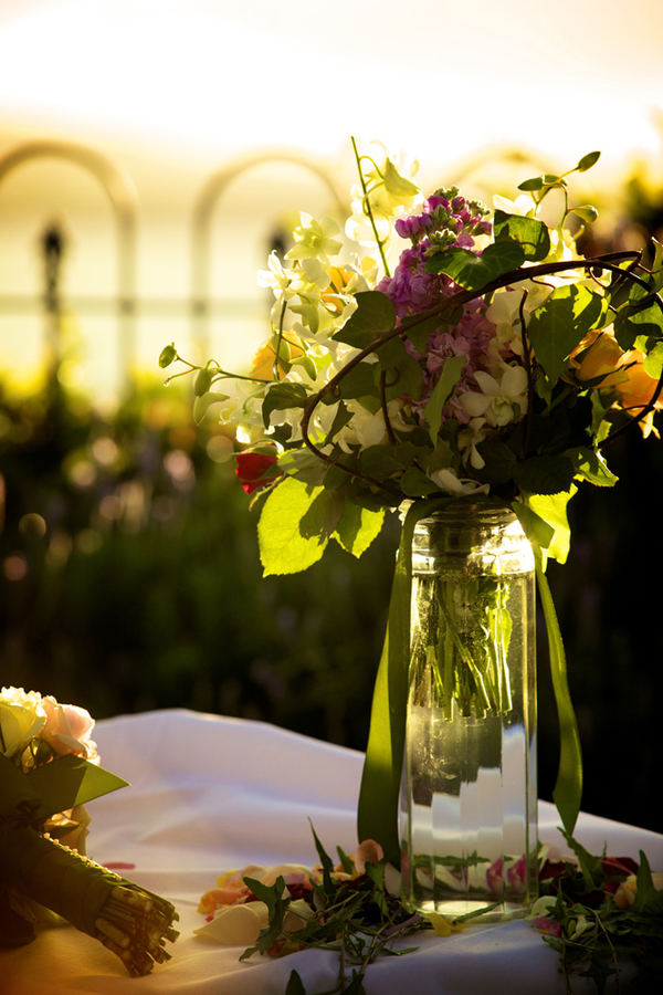 Wedding flowers sunset