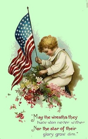 Vintage-american-flag-little-boy-memorial-day