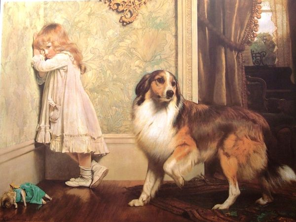 Little girl in corner with collie