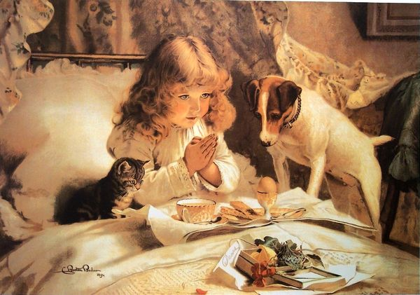 Little girl praying with puppy