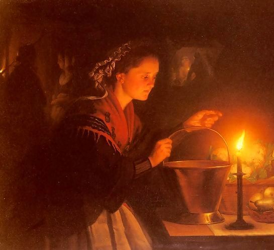 A Market Scene By Candlelight, a painting by Petrus van Schendel.