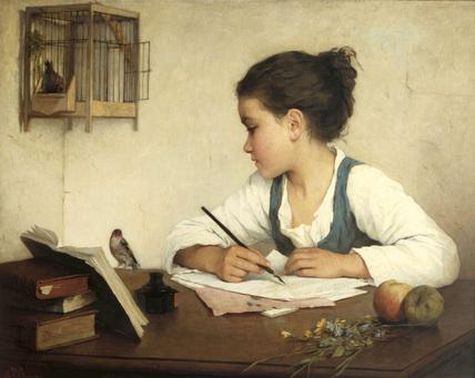 Girl writing 2