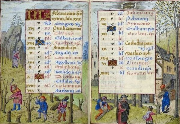 Medieval Calendar page for February, Hours of Joanna of Castile, c. 1500