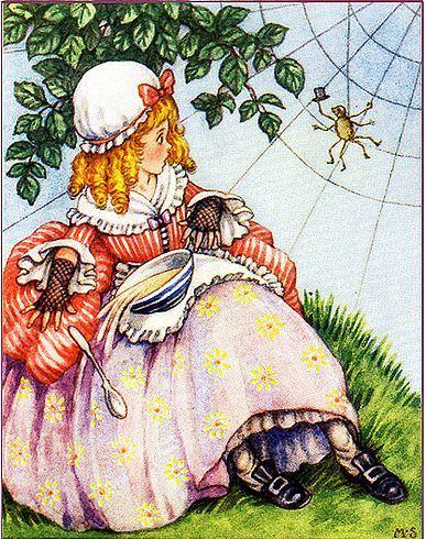Little Miss Muffet vintage postcard upper crop