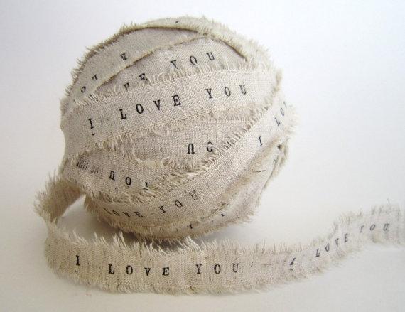 Linen ribbon I love you