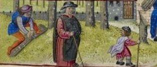 Medieval Calendar page for February,detail bundling