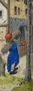 Medieval Calendar page for February, detail kindling