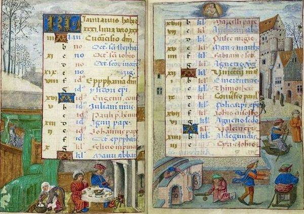 Medieval Calendar page for January, Book of Hours c 1500