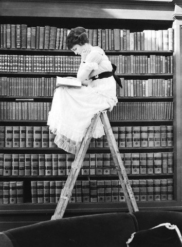 Library lady reading on library ladder