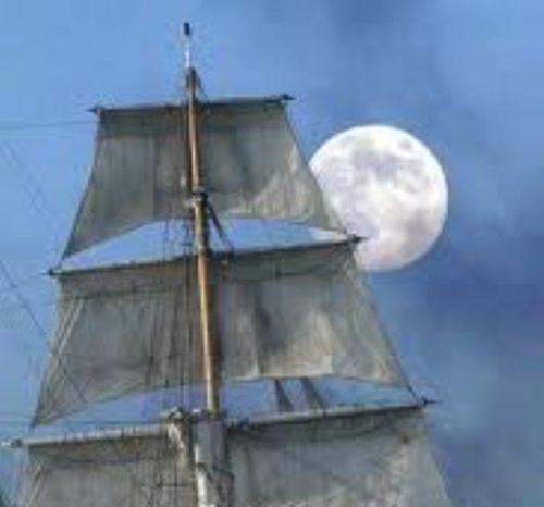 Ship's sail and moona
