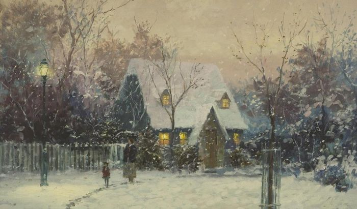 A Winter's Cottage Thomas Kincaid, cropped
