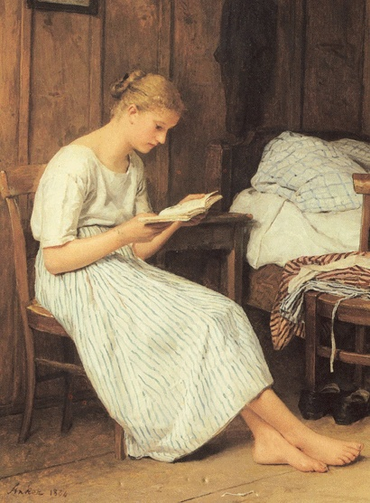 Woman reading Albert Anker - 1884