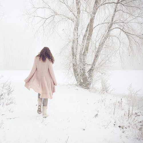 Pink coat in snow