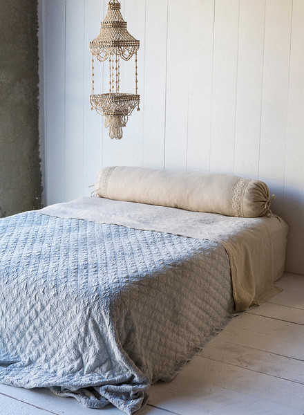 Bella notte homespun bolster in sand, chesapeake coverlet in silveer mist