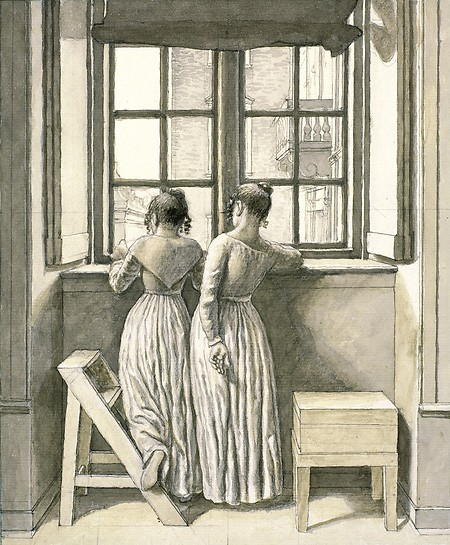 Two girls at an open window