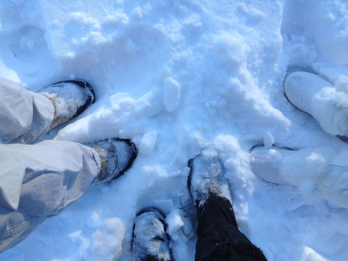 Three snow boots