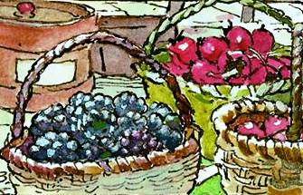 Brambly Hedge Palace Kitchen fruit baskets