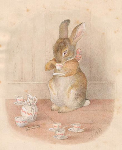 %22The Tea Party,%22 original watercolor by Beatrix Potter